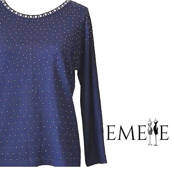 fee0681291bbaa Cathy Daniels Sweaters | Womens Sweater Xl Embellished Navy | Poshmark